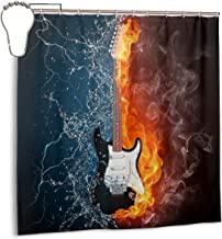 AJNIBREUIX Shower Curtain, Fire and Water Violin Bath Curtain with Hooks for Master Bathroom, Kid's Bathroom, Guest Bathroom, 72 X 72 Inches