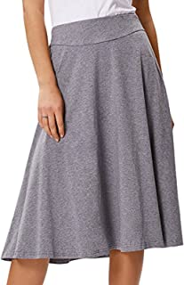 Flared Stretchy Midi Skirt High Waist Jersey Skirt for Women