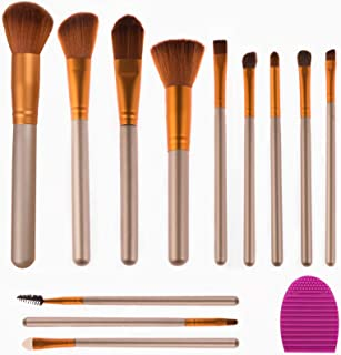 YOMAGICGIRL Makeup Brushes set ,Premium Synthetic Foundation Powder Concealers Eye Shadows Brushes, Brush Cleaners(12+1PC)S)