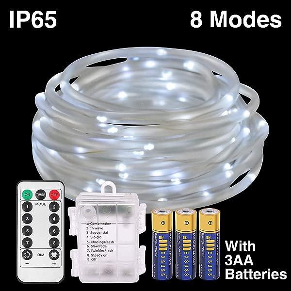 HONGM 120LED 绳串灯电池供电串灯 8 种模式防水萤火虫灯带远程定时器户外室内花园派对圣诞树婚礼白色