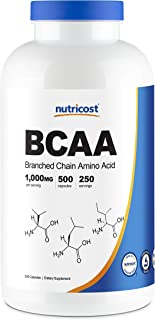 Nutricost BCAA Capsules 2:1:1 500mg, 500 Caps - 500mg of L-Leucine, 250mg of L-Isoleucine and L-Valine Per ...