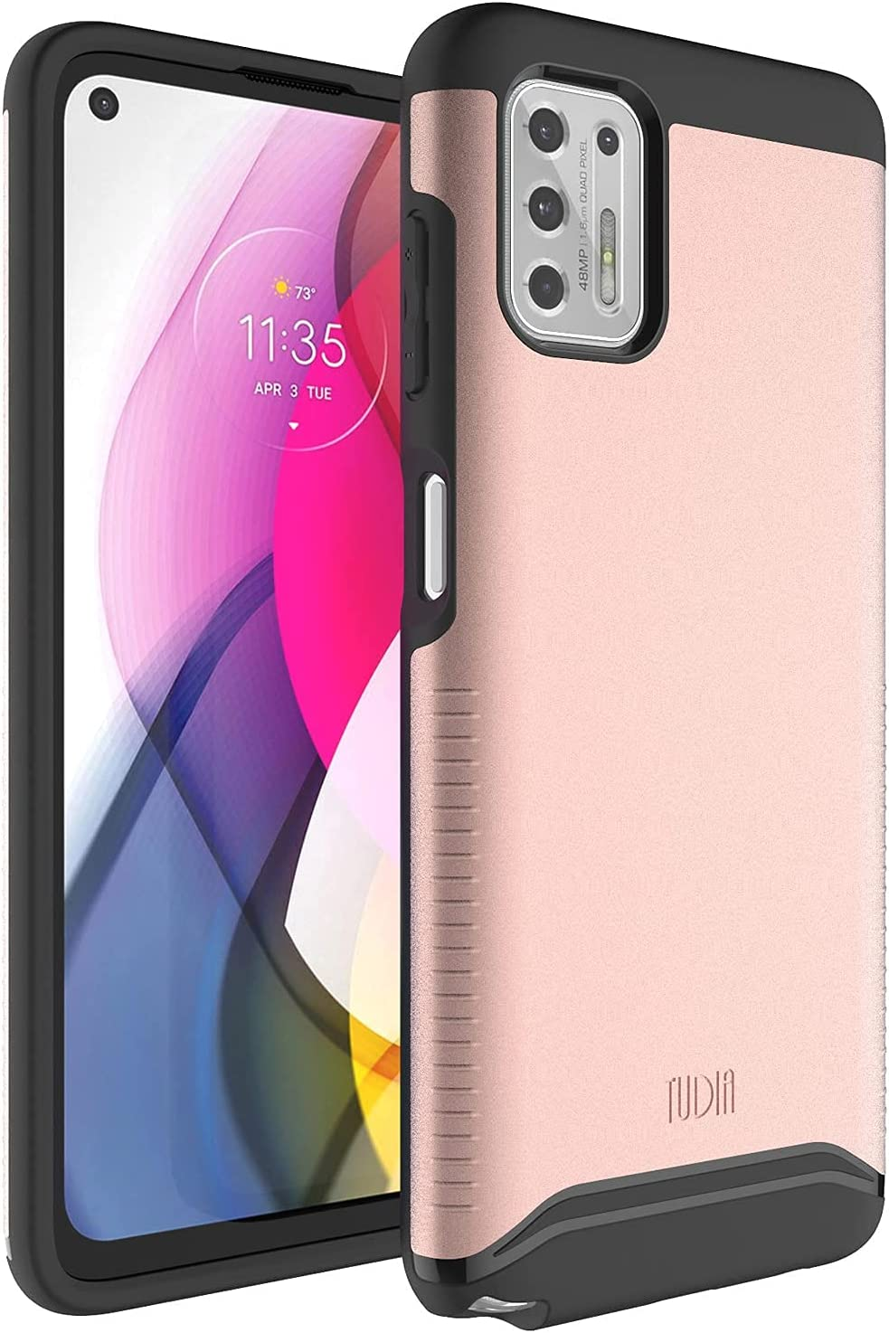 TUDIA DualShield Designed for Moto G Stylus 2021 Case [NOT Compatible with 5G], [Merge] Shockproof Dual Layer Slim Hard PC Soft TPU Protective Case - Rose Gold