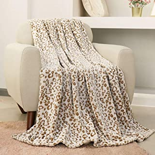 FY FIBER HOUSE Flannel Fleece Throw Microfiber Blanket with 3D Cheetah Print,50 by 60-Inch,Brown