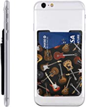 Passion Guitar Phone Card Holder for Back of Phone 2.43.5in, Stretchy Wallet Stick On Pocket Credit Card ID Case Pouch Sleeve