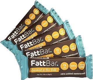 FattBar Keto Super Fats Bar (Caramel & Sea Salt, 5-Pack) | Natural and Delicious Nut Bar | Low Net Carb, High Fiber, Low Sugar, Keto, Gluten Free, Sweetener Free, Vegan, Non-GMO