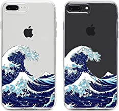 uCOLOR Clear Case Compatible with iPhone 8 Plus / 7 Plus Japanese Wave Transparent Protective Soft TPU Bumper+Hard PC Back Cover for iPhone 7 Plus/8 Plus/6S Plus/iPhone 6 Plus (5.5 inch)