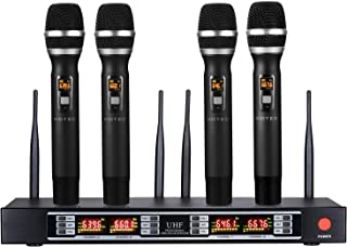 Hotec 4-Channel Wireless Microphone System with 4 Handheld Mics and Metal Receiver, Ideal for Home KTV Party Karaoke Wedding Classroom Church DJ