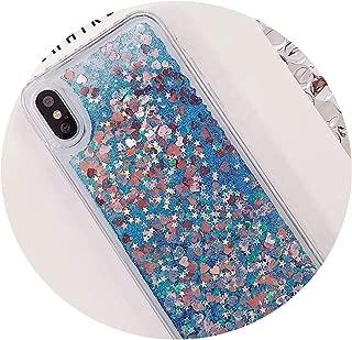Love Heart Liquid Quicksand Soft Case for Samsung Galaxy J4 J6 A6 A8 2018 S8 S9 Plus S7 Edge J1 J3 J5 J7 2016 A3 A5 2017 Cases,Blue,A6 Plus 2018