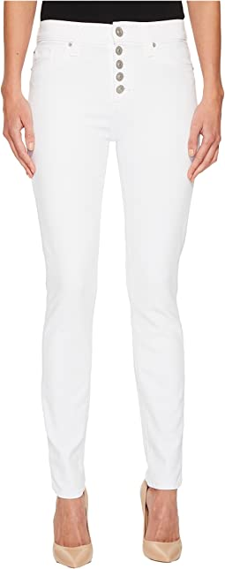 Hudson - Ciara High-Rise Skinny w/ Button Fly Front in Optical White