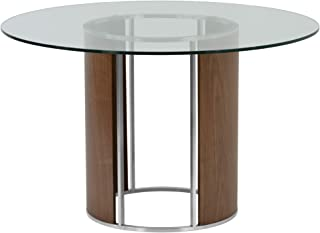 Armen Living Delano Dining Table with Clear Glass Top, Walnut Wood and Brushed Stainless Steel Finish