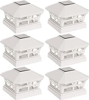 6 Pack Green Lighting Solar Post Cap Light for 5 x 5 PVC Posts (Off White)