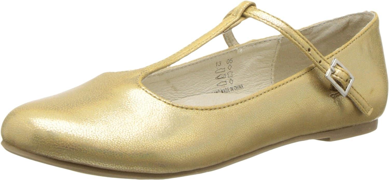 Pazitos Girl's T-Strap BF PU (Toddler/Little Kid/Big Kid) Gold Flat 34 (US 2 Little Kid) M