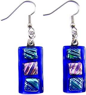 Dichroic Glass Earrings Dangle - 1