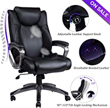 REFICCER Bonded Leather Office Chair - Adjustable Built-in Lumbar Support and Tilt Angle High Back Executive Computer Desk Chair for Office Workers & Students