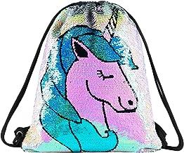 Unicorn Gift Sequin Mermaid Drawstring Bag Flip Sequin Dance Bags for Girls Kids