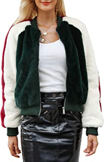 BerryGo Women's Fashion Faux Fur Coat Zipper Bomber Jacket Outwear