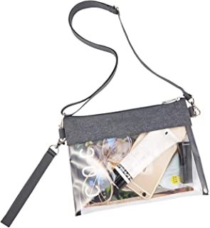 Greenpine Clear Crossbody Purse Bag, Clear Gameday Bag with Adjustable Shoulder Strap and Wrist Strap for Work Sports Games
