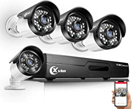 XVIM 720P 4CH Home Security Camera System Wired Outdoor,1080P HDMI CCTV DVR Recorder with 4Pcs 720P Night Vision Indoor Outdoor Weatherproof Bullet Surveillance 1.0MP Cameras(No Hard Drive)