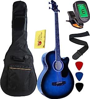 گیتار باس آکوستیک-الکتریک برش کامل 4 رشته ای Vizcaya با اکولایزر 4 باند ، کیف 5 گیگابایتی ، بند ، رنگ آبی