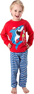 Pijama de dos piezas de algodón largo para niños, pijama de tiburón