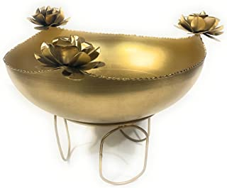 Go Hooked Metal Decorative Bowl Urli Table Accents for Decoration | Urli Bowl for Home Decor | Gift Item Table Decorative ...