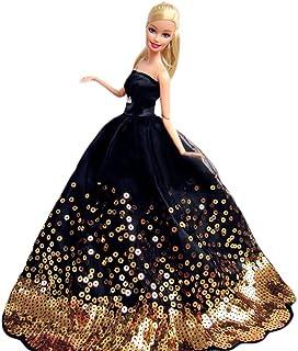 c0fcb9b6216 WayIn® Magnifique Robe de soirée à la main avec Paillettes pour la poupée  Barbie Noir