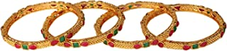 Efulgenz Fashion Jewelry Indian Bollywood 14 K Gold Plated Faux Ruby Emerald Bracelets Bangle Set (4 Pieces) for Women