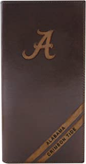 NCAA Alabama Crimson Tide Zep-Pro Pull-Up Leather Long Secretary Embossed Wallet, Brown