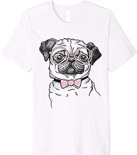 Cute pug girl shirt, Pug with pink glasses tee