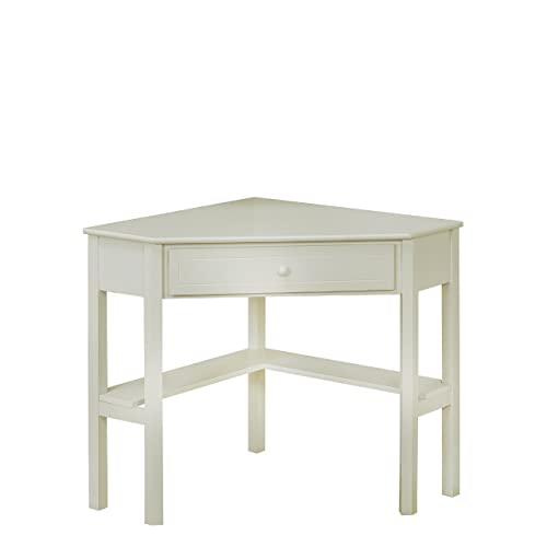 Delightful Target Marketing Systems Wood Corner Desk With One Drawer And One Storage  Shelf, Antique White