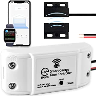 eKyro Smart Garage Door Opener - WiFi Remote Controller Compatible with Alexa, Google Home, iPhone, Siri, OK Google, 1 2 or 3 Door Security Systems, Compatible with Most Garages with Adapter