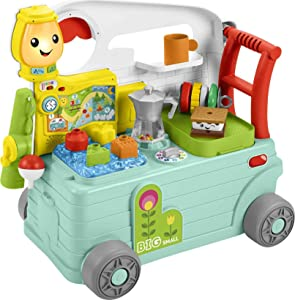Fisher-Price Laugh & Learn 3-in-1 On-the-Go Camper, Musical Push-Along Walker and Activity Center for Infants and Toddlers Ages 9-36 Months