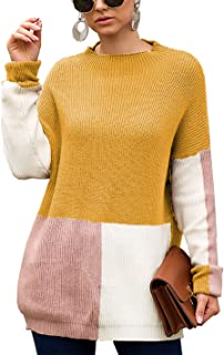 BTFBM Women Mock-Neck Fashion Splice Color-Block Panels Long Sleeve Drop Shoulder Knit Loose Sweaters Pullover Tops