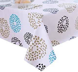 Lavin Vinyl Tablecloth Rectangle, Table Cover with Anti Slip Backing, Wipe Clean Waterproof Oilcloth, Heavy Duty Stain Resistant Home Decoration (Dots, 55x79 Inch, 140x200 cm)