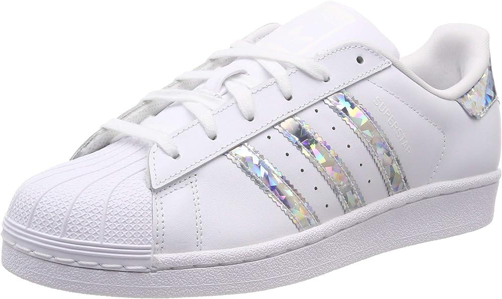 Adidas superstar j, scarpe da ginnastica per ragazzo,in pelle sintetica F33889