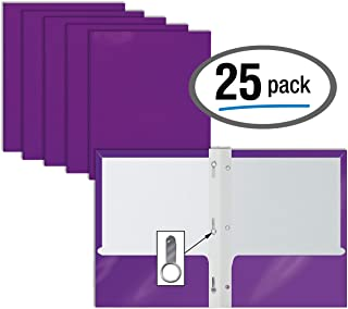 2 Pocket Glossy Purple Paper Folders with Prongs, 25 Pack, by Better Office Products, Letter Size, High Gloss Purple Paper Portfolios with 3 Metal Prong Fasteners, Box of 25 Glossy Purple Folders