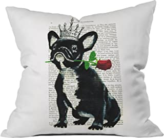 Deny Designs Coco de Paris Frenchie With Flower Throw Pillow, Indoor