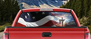 M22 Waving American Flag Jesus Cross in The Light of God Full Color Back Window Graphic Decal Truck Backscape 66 X 20 Inches