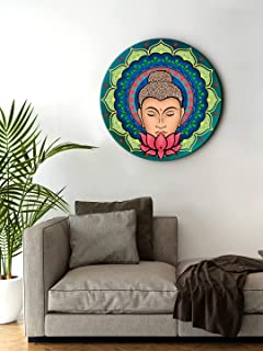 999Store small frames for wall decor room office Buddha Face With Lotus Round Shape wall art painting wall hanging (MDF_11...