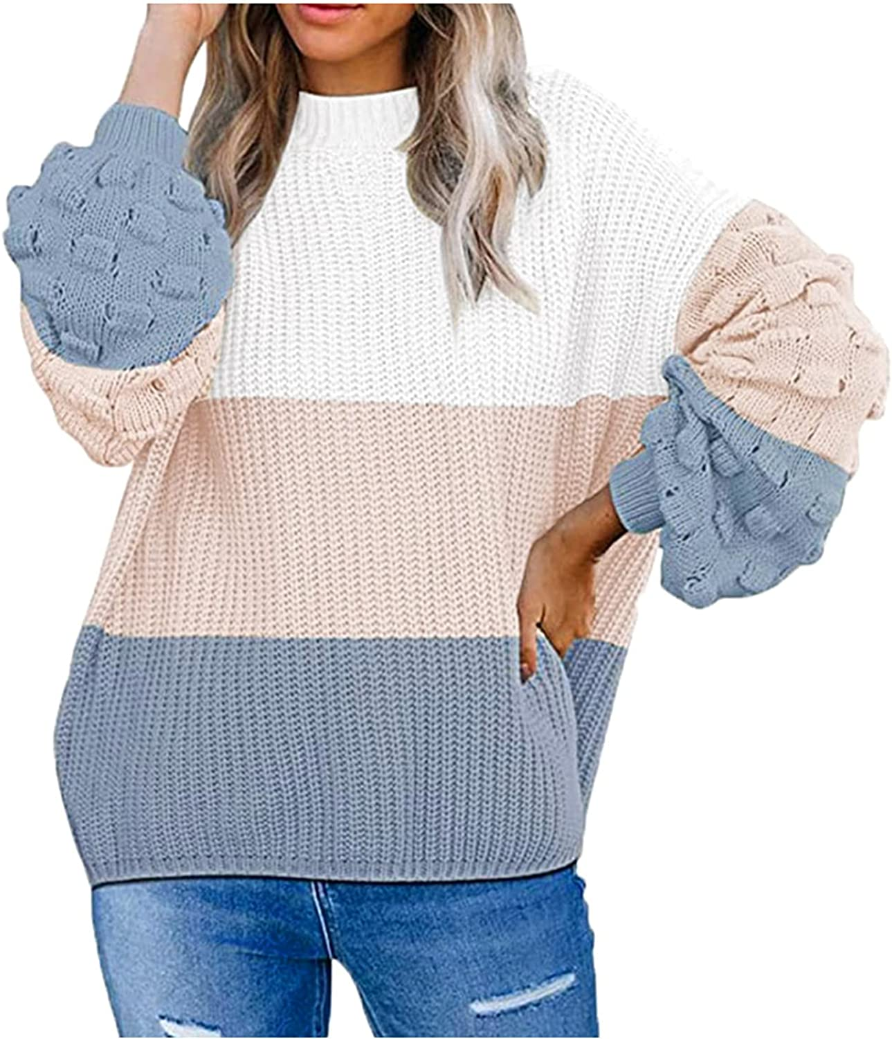 Women's Cute Oversized Crew Neck Loose Puff Sleeves Chunky Knit Pullover Sweater Color Block Striped Knitted Jumpers Tops
