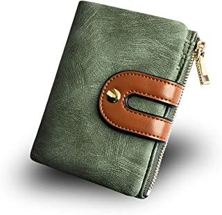 Buxton Genuine Leather Fan Card Case,Green
