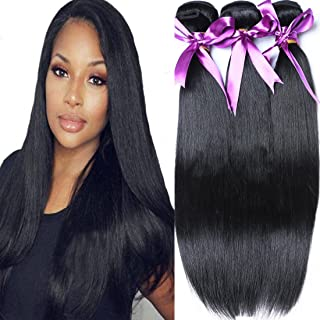 Angie Queen Brazilian Virgin Hair Straight Hair 3 Bundles 24 26 28inch 100% Unprocessed Virgin Human Hair Extensions Hair Weaves Wefts Natural Color (100+/-5g)/bundle Can be Dyed and Bleached