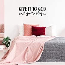 """Vinyl Wall Art Decal - Give It to God and Go to Sleep - 11"""" x 31"""" - Modern Inspirational Religious Quote Sticker for Home Office Bedroom Living Room Classroom Decor (Black)"""