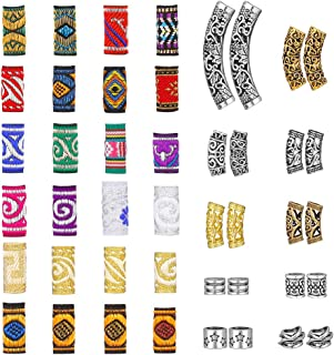 Solider 44 Pcs Hair Tube Beads DIY Hair Braiding Classic Retro Style Metal Cuffs Tubes Braid Clips Hair Accessories Jewelr...