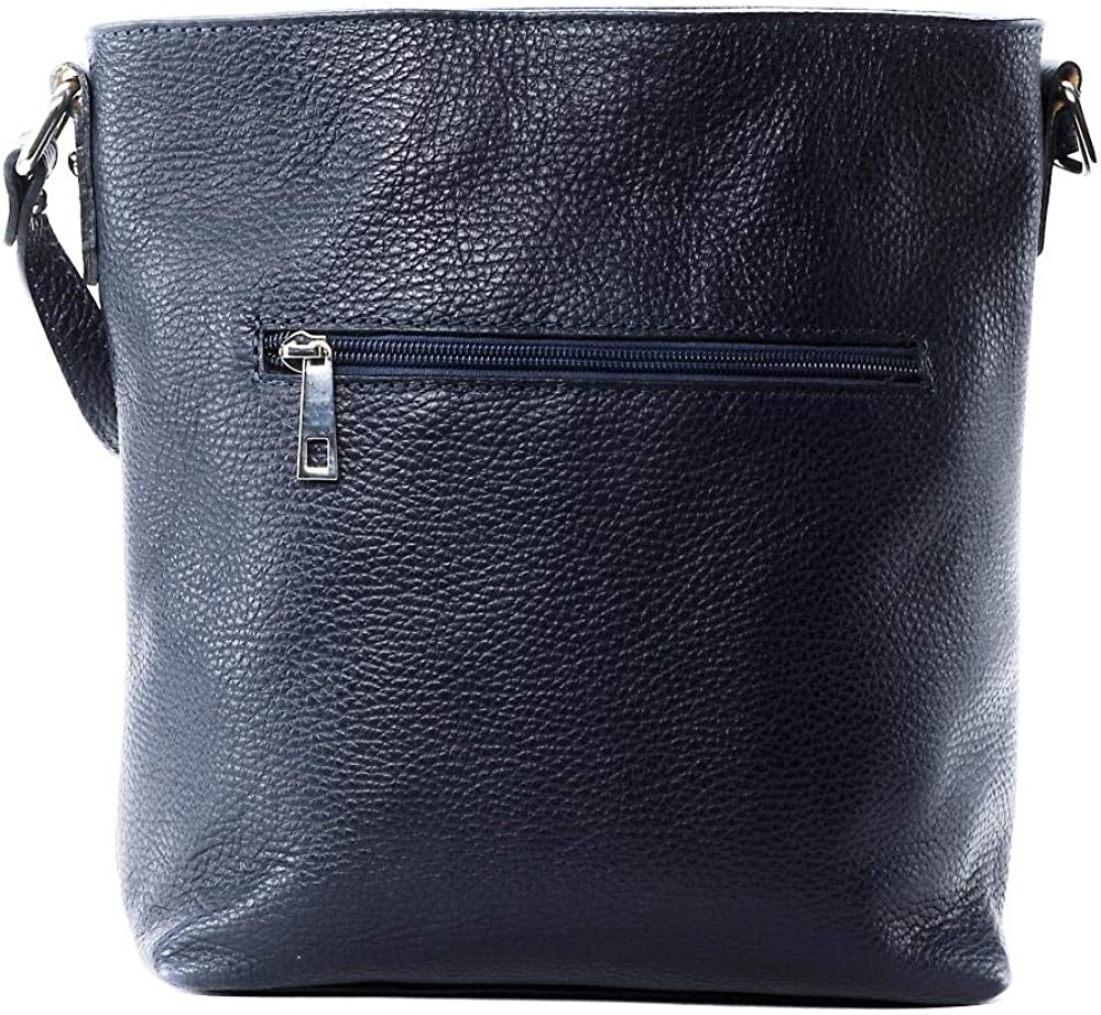 OH MY BAG Sac porté épaule Cuir porté épaule bandoulière et de travers Femmes en véritable cuir fabriqué en Italie - modèle MEGEVE Bleu Fonce
