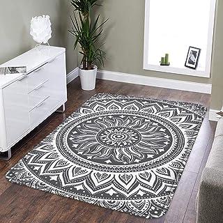 LEEVAN Area Rug Modern No-Shedding Non-Slip Machine Washable Rectangle Living Room Bedroom Study Soft Carpet Floor Mat Home Decor(3 x 4 ft, Grey Mandala)