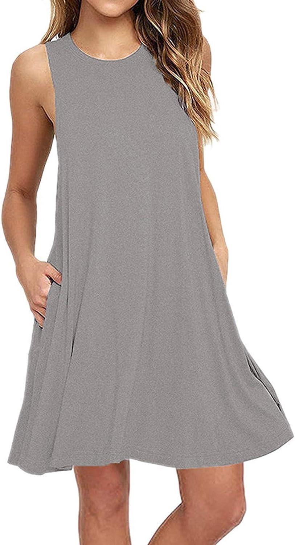 Oiumov Summer Dresses for Women, Women's Sleeveless Plain Tank Swing Dress Casual Party Sundress Loose Boho Dress