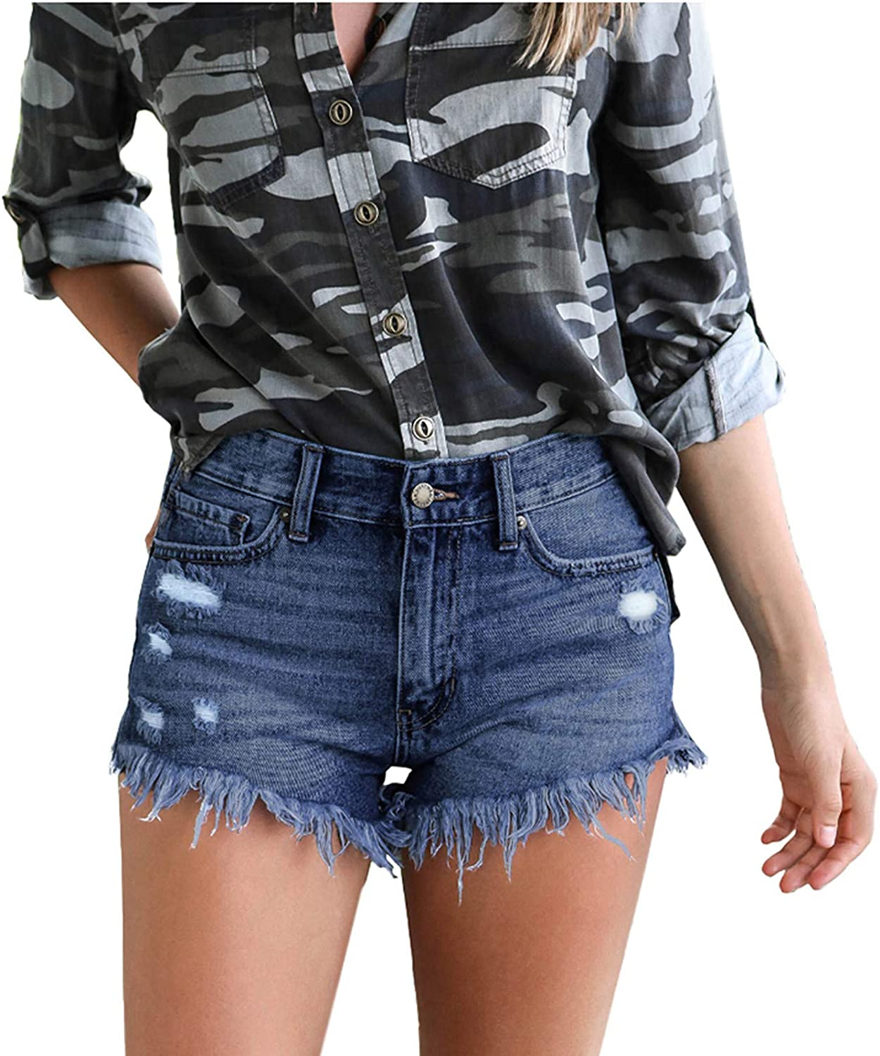 BEIBEIA Womens Denim Hole Shorts, 2021 Summer Fashion Frayed Hem Ripped Distressed Jeans Button Casual Sexy Hot Shorts