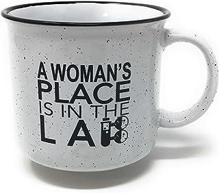 Woman's Place Is In The Lab Science Scientist Mug - 15oz Ceramic Campfire Retro Granite Style