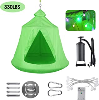 GARTIO Hanging Tree Tent, Waterproof Swing Play House, Portable Hammock Chair, with LED Decoration Lights, Inflatable Cush...